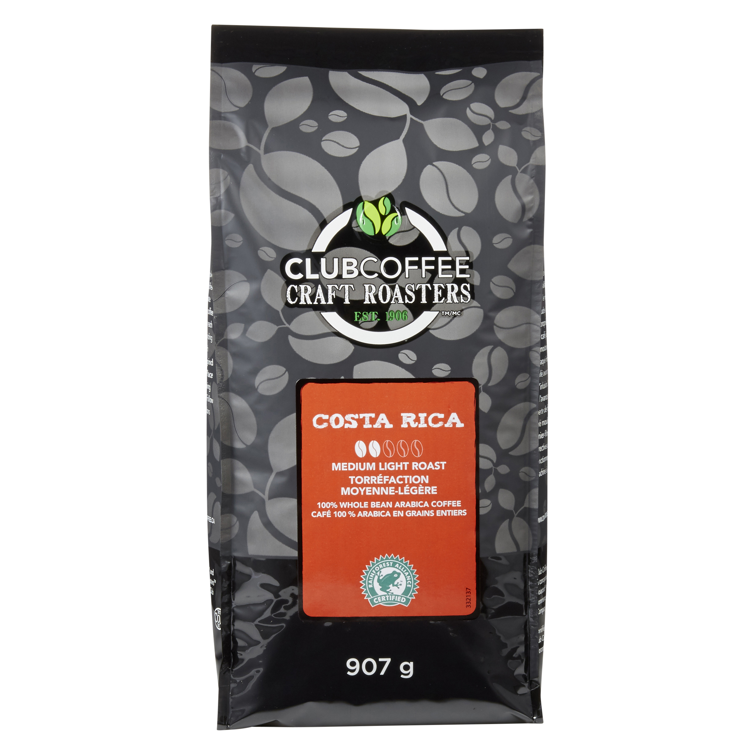 CRAFT ROASTERS COSTA RICA WHOLE BEAN BAG