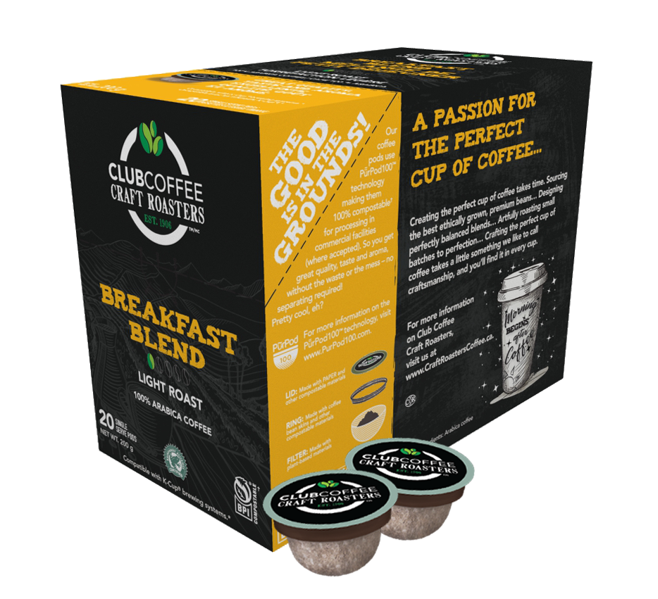 club coffee craft roasters breakfast blend single serve coffee pods