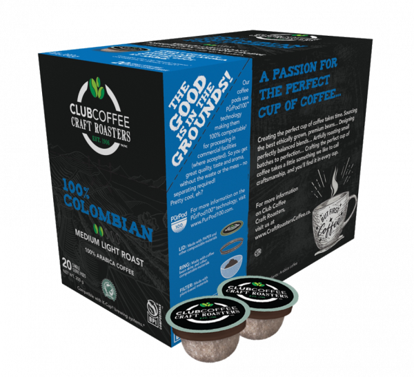 club coffee craft roasters colombian single serve coffee pods