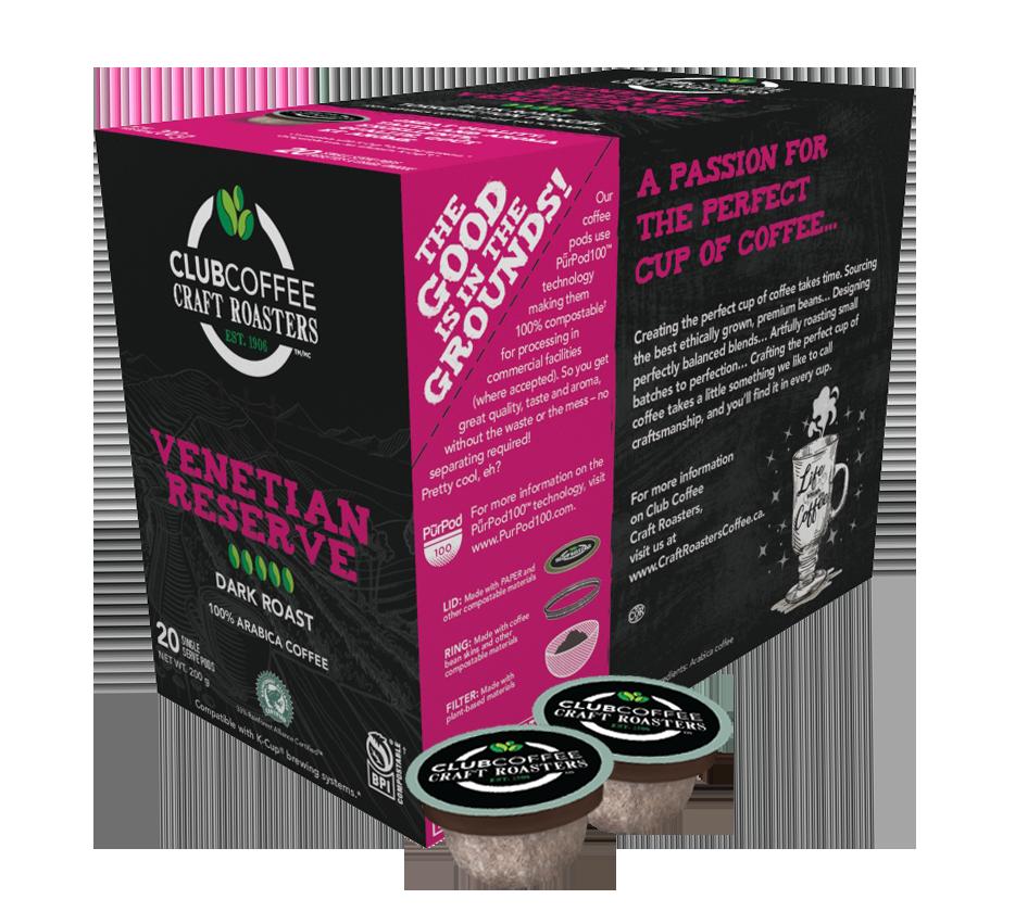 club coffee craft roasters venetian reserve single serve coffee pods
