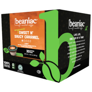 Beaniac Sweet N' Saucy Caramel flavored light roast coffee pods pack of 30 Pods